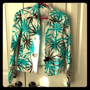 Milly size 6 blazer, blue and brown palm print.